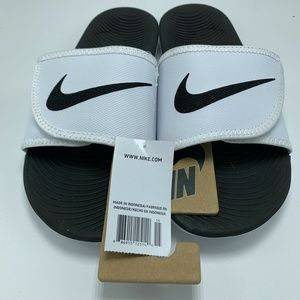 Nike Kawa Adjust White Black  Strap Slide Sandals